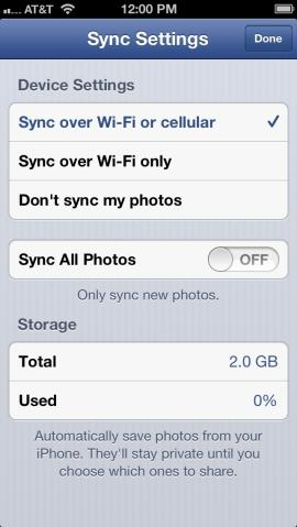 "Change the Facebook app's Photo Sync settings to ""Don't sync my photos"" to prevent Facebook from automatically uploading all the photos you take with your iPhone. (Credit: Screenshot by Dennis O'Reilly/CNET)"