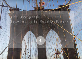 The New York Times has just released its news app to Google Glass users, making it the first third party to release an installable app for Google's high-tech specs. Here, Glass is being used to interact with the immediate environment. (Credit: Google)